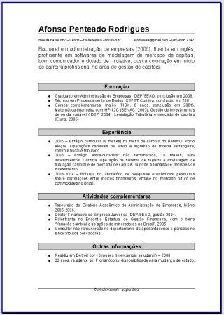Curriculum Vitae Simples Para Preencher E Imprimir