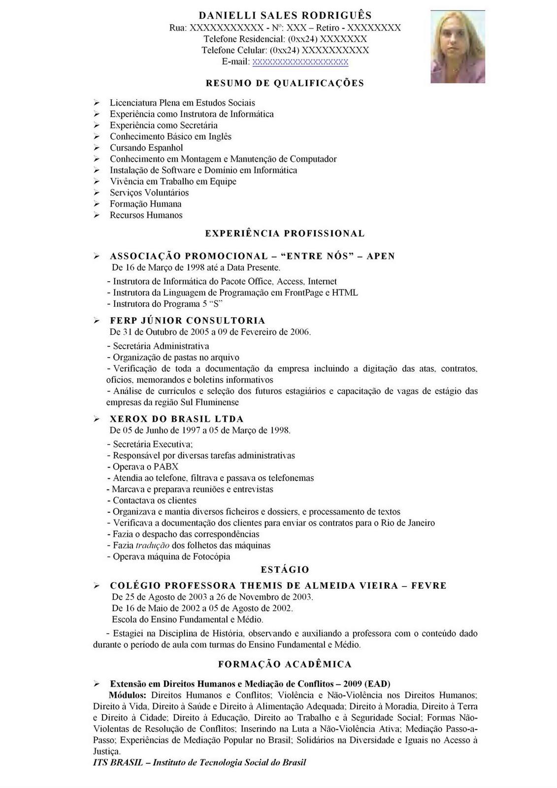 Modelos De Curriculum Prontos Botucatu Guia Botucatu